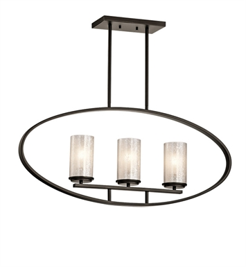 Kichler 43318OZ Berra Collection Chandelier Linear 3 Light in Olde Bronze