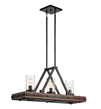 Kichler 43433AUB Colerne Collection Chandelier Island 3 Light in Auburn Stained Finish