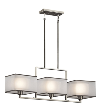 Kichler 43437NI Kailey Collection Chandelier Linear 3 Light in Brushed Nickel