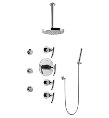 Graff GB1.221A-LM24S Contemporary Square Thermostatic Set with Body Sprays and Handshower