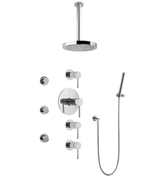 Graff GB1.221A-LM37S Contemporary Square Thermostatic Set with Body Sprays and Handshower