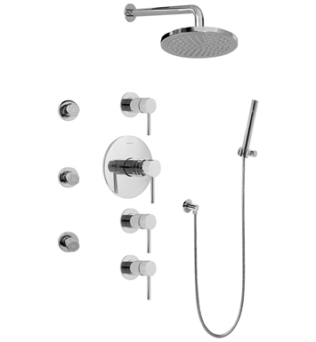 Graff GB1.222A-LM37S-PC Contemporary Square Thermostatic Set with Body Sprays and Handshower With Finish: Polished Chrome