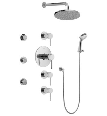 Graff GB1.232A-LM37S-PC Contemporary Square Thermostatic Set with Body Sprays and Handshower With Finish: Polished Chrome
