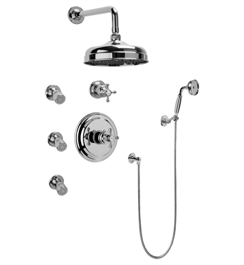 Graff GA5.222B-C2S-PC Full Thermostatic Shower System with Transfer Valve With Finish: Polished Chrome