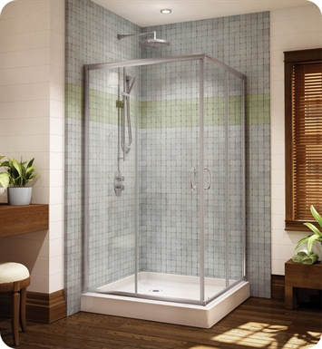 Fleurco FAC36-11-65 Signature Capri Frameless Square Corner Entry Shower Doors With Hardware Finish: Bright Chrome And Glass Type: Prism Glass
