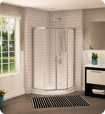 "Fleurco FAN36-11-65  Signature Capri 36"" Neo Angle Sliding Shower Doors With Hardware Finish: Bright Chrome And Glass Type: Prism Glass"