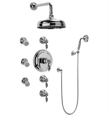 Graff GA1.222B-LM14S-PC Traditional Thermostatic Set with Body Sprays and Handshower With Finish: Polished Chrome