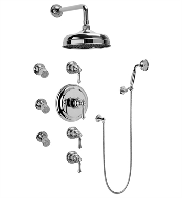 Graff GA1.222B-LM15S-AU Traditional Thermostatic Set with Body Sprays and Handshower With Finish: 18K Gold Plated