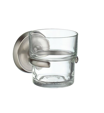 Smedbo V243N Villa Holder with Glass Tumbler in Brushed Nickel