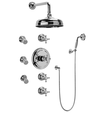 Graff GA1.222B-C2S-PC Traditional Thermostatic Set with Body Sprays and Handshower With Finish: Polished Chrome