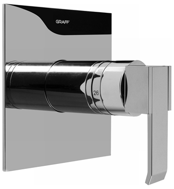 Graff G-8041-LM38S-PC/BK Thermostatic Valve Trim with Handle With Finish: Architectural Black w/ Chrome Accents