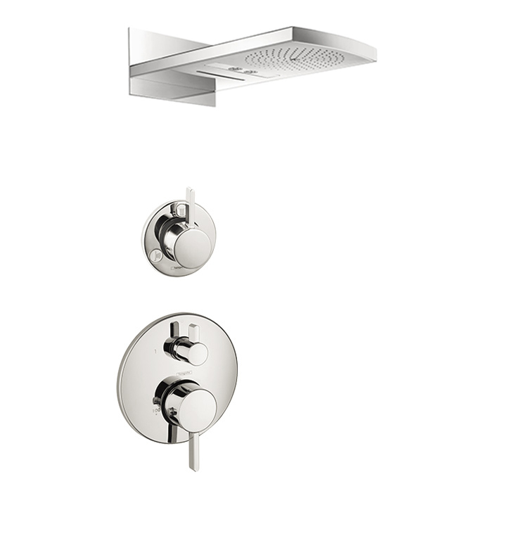 hansgrohe hg rd showersys raindance rainfall shower system with 3 spray modes. Black Bedroom Furniture Sets. Home Design Ideas