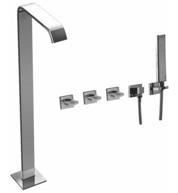 "Graff G-3653-C14U-PC Targa 38"" Floor Mounted Tub Filler with Wall Mount Handshower and Diverter With Finish: Polished Chrome"