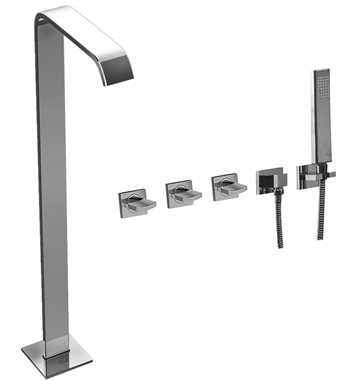 Graff G-3653-C14U-SN Targa Floor Mounted Tub Filler with Wall Mounted Handshower and Diverter With Finish: Steelnox (Satin Nickel)