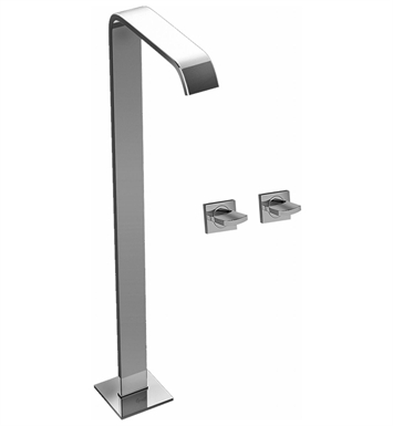 Graff G-3652-C14U-SN Targa Floor Mounted Tub Filler with Wall Mounted Handles With Finish: Steelnox (Satin Nickel)