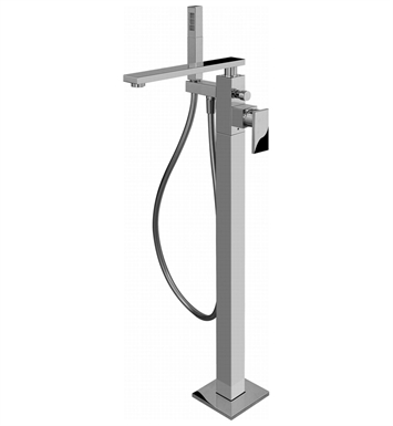 Graff G-3754-LM31N-PC/BK Solar Floor Mounted Tub Filler with Handshower With Finish: Architectural Black w/ Chrome Accents