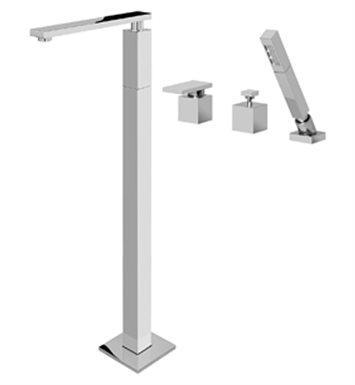 Graff G-3753-LM31-SN Solar Floor Mounted Tub Filler with Deck Mounted Handshower and Diverter With Finish: Steelnox (Satin Nickel)