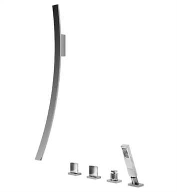 Graff G-6051-C14B-SN Luna Wall Mounted Tub Filler with Deck Mounted Handles and Handshower Set With Finish: Steelnox (Satin Nickel)