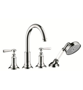 "Hansgrohe 16550831 Axor Montreux 9 1/8"" Four Hole Widespread/Deck Mounted High Arc Roman Tub Set Trim with Handshower With Finish: Polished Nickel"
