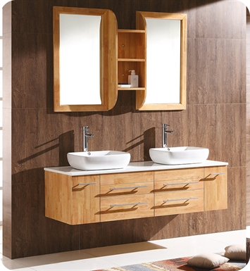 "Fresca FVN6119NW Bellezza 59"" Natural Wood Modern Double Vessel Sink Bathroom Vanity"