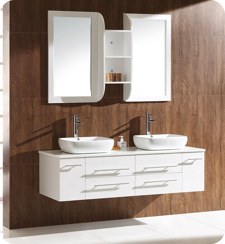 Fresca fvn6119wh bellezza 59 white modern double vessel for Decorplanet bathroom vanities