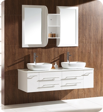 "Fresca FVN6119WH Bellezza 59"" White Modern Double Vessel Sink Bathroom Vanity"