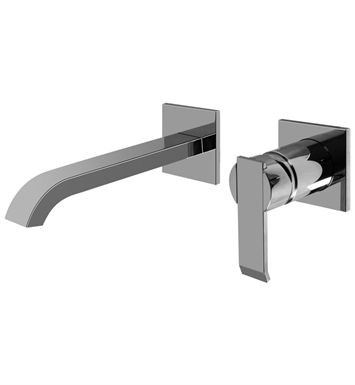 "Graff G-6235-LM38W-PC/BK Qubic L 7 1/2"" Wall Mounted Lavatory Faucet with Single Handle With Finish: Architectural Black w/ Chrome Accents"
