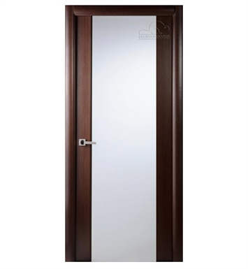 Arazzinni G202-W-2080-JW-CW-FCW-SOSS212 Grand 202 Interior Door in a Wenge Finish with Frosted Glass With Door Width: 19 13/16 inches And Hanging Options: Complete with Door Jambs, Casing, Door Handle Pre-drilling, and Chrome SOSS Hinges