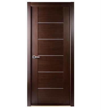 Arazzinni M201-W-2080-JW-CW-FCW-SOSS212 Maximum 201 Interior Door in a Wenge Finish with Aluminum Strips With Door Width: 19 13/16 inches And Hanging Options: Complete with Door Jambs, Casing, Door Handle Pre-drilling, and Chrome SOSS Hinges
