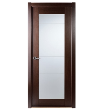 Arazzinni M209-W-2480-JW-CW-FCW-SOSS212 Maximum 209 Interior Door in a Wenge Finish with Frosted Glass With Door Width: 23 13/16 inches And Hanging Options: Complete with Door Jambs, Casing, Door Handle Pre-drilling, and Chrome SOSS Hinges