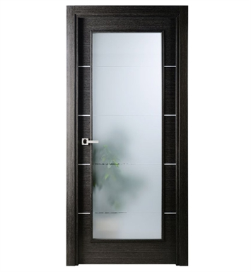 Arazzinni AV-BA-3680-JBA-CBA-SOSS212 Avanti Vetro Interior Door in a Black Apricot Finish with Silver Strips and Frosted Glass With Door Width: 35 13/16 inches And Hanging Options: Complete with Door Jambs, Casing, Door Handle Pre-drilling, and Chrome SOSS Hinges
