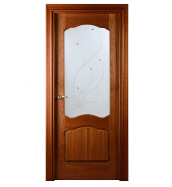 Arazzinni DV-S-3080-JS-CS-PBH Desta Verra Interior Door in a Sapele Finish with Frosted Glass Design With Door Width: 29 13/16 inches And Hanging Options: Complete with Door Jambs, Casing, Door Handle Pre-drilling, and Chrome Plain Bearing Hinges