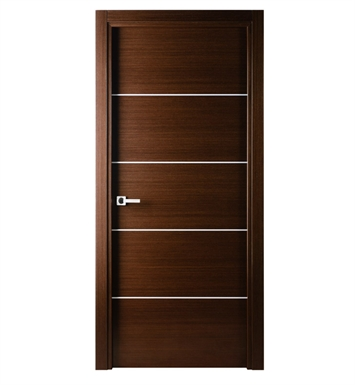 Arazzinni M-IW-2480-JIW-CIW-PBH Mia Interior Door in a Wenge Finish with Silver Strips With Door Width: 23 13/16 inches And Hanging Options: Complete with Door Jambs, Casing, Door Handle Pre-drilling, and Chrome Plain Bearing Hinges