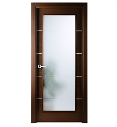Arazzinni MV-IW Mia Vetro Interior Door in a Wenge Finish with Silver Strips and Frosted Glass