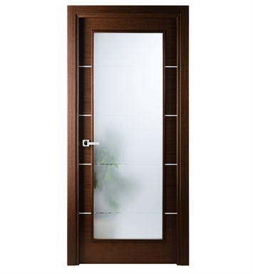 Arazzinni MV-IW-2480-JIW-CIW-PBH Mia Vetro Interior Door in a Wenge Finish with Silver Strips and Frosted Glass With Door Width: 23 13/16 inches And Hanging Options: Complete with Door Jambs, Casing, Door Handle Pre-drilling, and Chrome Plain Bearing Hinges