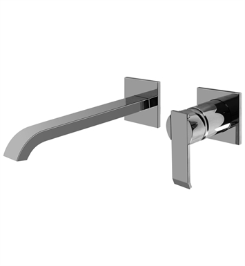 "Graff G-6236-LM38W-PC/BK Qubic L 9 1/4"" Wall Mounted Lavatory Faucet with Single Handle With Finish: Architectural Black w/ Chrome Accents"