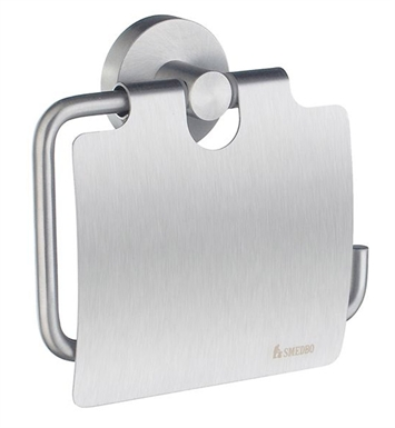 Smedbo HS3414 Home Toilet Roll Euro Holder With Lid in Brushed Chrome
