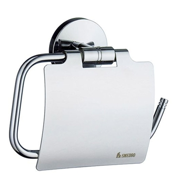 Smedbo NK3414 Studio Toilet Roll Euro Holder With Lid in Polished Chrome