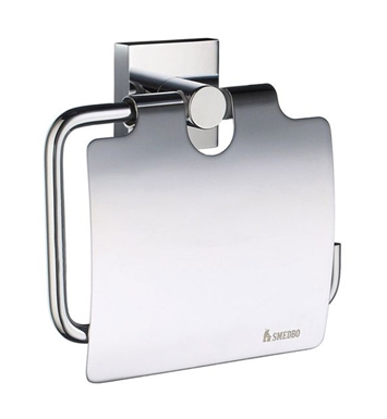 Smedbo RK3414 House Toilet Roll Euro Holder With Lid in Polished Chrome