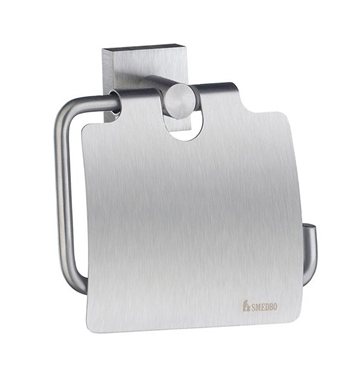 Smedbo RS3414 House Toilet Roll Euro Holder With Lid in Brushed Chrome