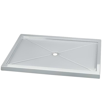 "Fleurco ABF4860-18 Quad Acrylic In Line Center Drain Rectangular Shower Base With Base Size: 60"" x 48"" x 3"" And Finish: White"