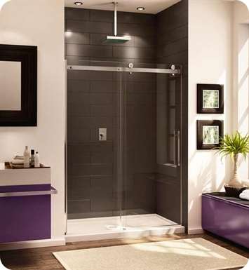 Fleurco NOV160-25-40 Novara In Line 60 Door and Panel With Hardware Finish: Brushed Nickel And Glass Type: Clear Glass