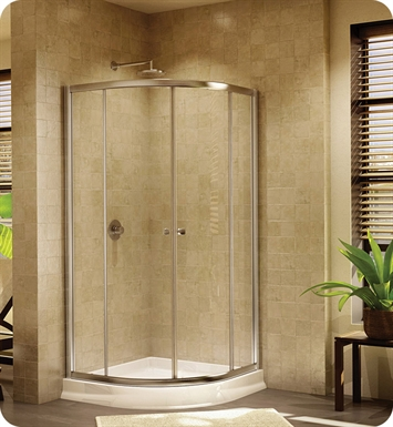 "Fleurco Signature Amalfi 36"" Round Semi Frameless Round Sliding Doors With Hardware Finish: Bright Chrome And Glass Type: Clear Glass"