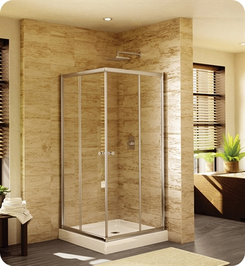 "Fleurco EAC42  Signature Amalfi 42"" Square Semi Frameless Corner Entry Shower Doors"