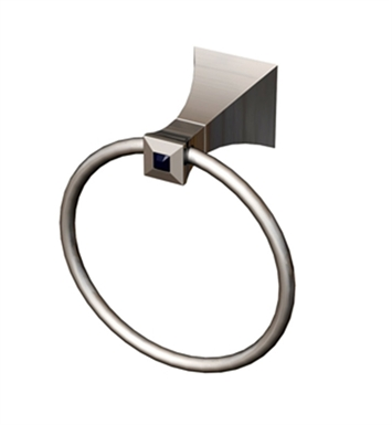 Rubinet 7DIC0MBMBCL Ice Towel Ring With Finish: Main Finish: Matt Black | Accent Finish: Matt Black And Crystal Accent: Clear Crystal Accent