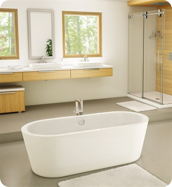 Fleurco BAD6831-18-25 Aria Adagio Acrylic Bathtub With Drain and Overflow Finish: Brushed Nickel