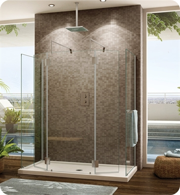 Fleurco VW6308-25-40R-MH Evolution 6' Walk in Square Top Shower Enclosure with 2 Side Glass Panels VW6308 With Hardware Finish: Brushed Nickel And Glass Type: Clear Glass And Door Direction: Right And Shower Door Hinges: Rectangular And Towel Bar: Flat Towel Bar - Brushed Finish And Microtek Glass Protection: 3 Panels
