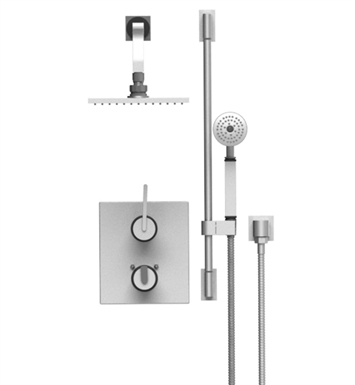 "Rubinet 21RTLSNSN R10 Temperature Control Shower with Two Way Diverter & Shut-Off, Handheld Shower, Bar, Integral Supply & Wall Mount 8"" Shower Head & Arm With Finish: Main Finish: Satin Nickel 