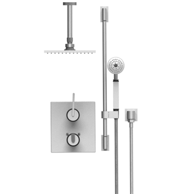 "Rubinet 22RTLSNSN R10 Temperature Control Shower with Two Way Diverter & Shut-Off, Handheld Shower, Bar, Integral Supply & Ceiling Mount 8"" Shower Head & Arm With Finish: Main Finish: Satin Nickel 