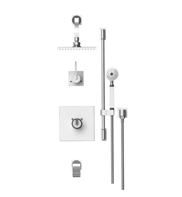 "Rubinet 24RTLSNSN R10 Temperature Control Tub & Shower with Three Way Diverter & Shut-Off, Handheld Shower, Bar, Integral Supply & Wall Mount Tub Filler Spout and Wall Mount 8"" Shower Head & Arm With Finish: Main Finish: Satin Nickel 